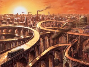 2982x2237_310_The_Gravelly_Hill_Aquaduct_Junction_2d_illustration_boat_city_picture_image_digital_art